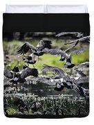 Magpie Geese In Flight Mcminn Lagoon Duvet Cover