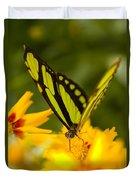 Malachite Butterfly On Flower Duvet Cover