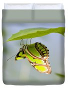 Malachite Butterfly On Leaf Duvet Cover