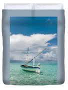 Maldivian Boat Dhoni On The Peaceful Water Of The Blue Lagoon Duvet Cover