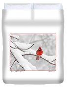 Male Cardinal In Snow Duvet Cover