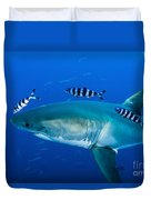 Male Great White Shark And Pilot Fish Duvet Cover