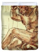 Male Nude Figure Drawing Sketch With Power Dynamics Struggle Angst Fear And Trepidation In Charcoal Duvet Cover