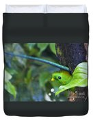 Male Quetzal Working On Nest Hole Duvet Cover