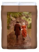 Man And Woman In 18th Century Clothing Walking Duvet Cover