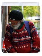 Man In A Red Sweater Duvet Cover
