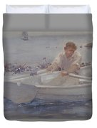 Man In A Rowing Boat Duvet Cover