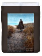 Man In Cape And Top Hat By The Sea Duvet Cover