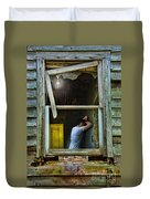 Man In Ruined House Duvet Cover