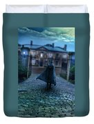 Man In Top Hat And Cape On Cobblestone Street Duvet Cover