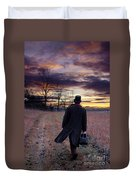 Man In Top Hat With Bag Walking Duvet Cover
