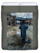 Man In Vintage Clothing With Umbrella On Rainy Brick Street Duvet Cover