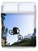 Man Jumping On His Mountain Bike Duvet Cover
