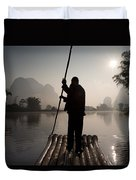 Man On Raft In Mountain Area Yulong Duvet Cover