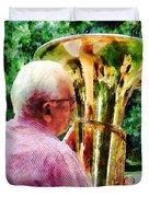 Man Playing Tuba Duvet Cover