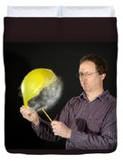 Man Popping A Balloon Duvet Cover