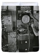 Man Testing Early Television Equipment Duvet Cover