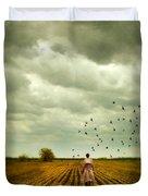 Man Walking In A Farm Field Duvet Cover