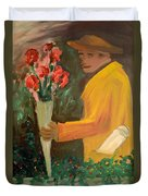 Man With Flowers  Duvet Cover