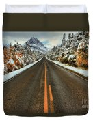 Many Glacier Road Duvet Cover