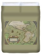 Map Of North And South America Duvet Cover