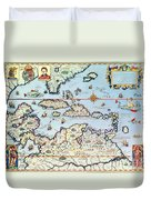 Map Of The Caribbean Islands And The American State Of Florida Duvet Cover