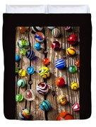 Marbles On Wooden Board Duvet Cover