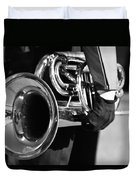 Marching Band Horn Bw Duvet Cover