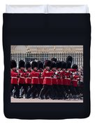 Marching In Red And Black Duvet Cover