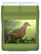 Marigold Dove With Verse Duvet Cover
