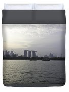 Marina Bay Sands And Flyer Along With Singapore Skyline From The Duvet Cover