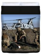 Marines And Sailors Being Transported Duvet Cover