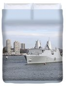 Marines And Sailors Man The Rails Duvet Cover