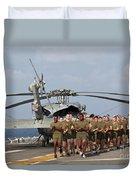 Marines And Sailors Run Aboard Uss Duvet Cover