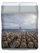 Marines And Sailors Stand In Formation Duvet Cover