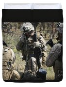 Marines Communicate With Other Elements Duvet Cover
