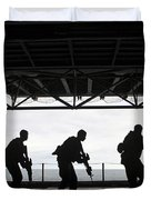 Marines Conduct Rifle Movement Drills Duvet Cover