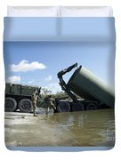 Marines Lower An Improved Ribbon Bridge Duvet Cover
