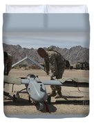 Marines Move An Rq-7 Shadow Unmanned Duvet Cover