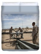 Marines Place An Rq-7 Shadow Unmanned Duvet Cover