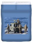 Marines Provide Security Aboard Duvet Cover