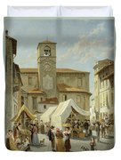 Marketday In Desanzano  Duvet Cover