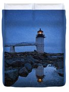 Marshall Point Lighthouse In Winter Storm. Duvet Cover
