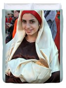 Mary And Baby Jesus At The Christmas March In Bethlehem Duvet Cover