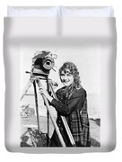 Mary Pickford (1893-1979). Born Gladys Mary Smith. American Actress, With A Movie Camera On A Beach, C1916 Duvet Cover