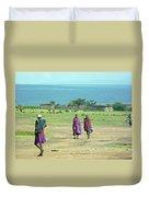 Masai Village Duvet Cover