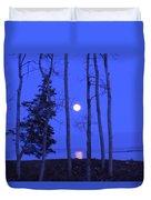 May Moon Through Birches Duvet Cover