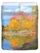 Mayslake At Fall Duvet Cover by Judith Barath