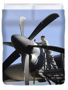Mechanic Finishes Moving An Engine Duvet Cover