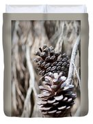 Dry Mediterranean Pinecone With Winter Colors Duvet Cover